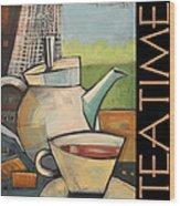 Tea Time Poster Wood Print