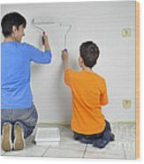 Teamwork - Mother And Child Painting Wall Wood Print by Matthias Hauser