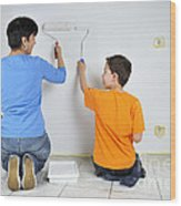 Teamwork - Mother And Son Painting Wall Wood Print