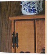 Teapot On Cabinet Wood Print