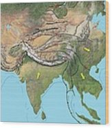 Tectonic Map Of Asia Wood Print