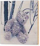 Teddy In Snow Wood Print