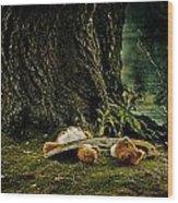 Teddy With A Saw Wood Print