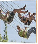 Teenagers On Fairground Ride Wood Print