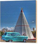 Teepee On Route 66 Wood Print