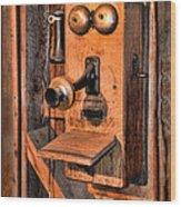 Telephone - Antique Hand Cranked Phone Wood Print