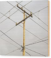 Telephone Pole And Electric Cables Wood Print
