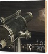 Telescope And Red Moon Wood Print