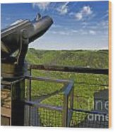 Telescope With View On Meander Of Queuille. Auvergne. France. Europe Wood Print