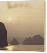 Temple At Sunset In Halong Bay Wood Print