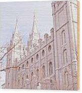 Temple Mormon In Temple Square Wood Print