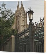 Temple Square Grounds Wood Print
