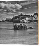 Tenby Harbour 1 Mono Wood Print