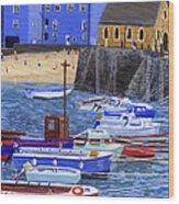 Painting Tenby Harbour With Boats Wood Print