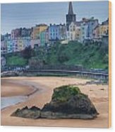 Tenby Over North Beach Painted Wood Print