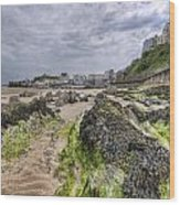 Tenby Rocks 2 Wood Print