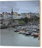 Tenby Town Across The Harbour Wood Print