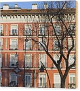 Tenement House Facade In Madrid Wood Print