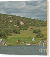 Tent Camping At Horsetooth Reservoir Wood Print by Harry Strharsky