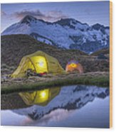 Tents Lit By Flashlight On Cascade Wood Print