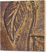 Terracotta Raised Relief Pottery Leaf Wood Print