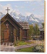 Teton Chapel Wood Print
