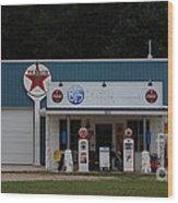 Texaco Gas Station Wood Print