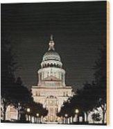 Texas Capitol Building At Night - Horz Wood Print