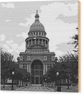 Texas Capitol Bw6 Wood Print