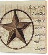Texas Iconic Star Wood Print by Linda Phelps