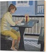 Texting At Breakfast Wood Print by Robert Rohrich