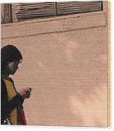Texting Wood Print by Viktor Savchenko