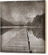 Textured Lake Wood Print by Bernard Jaubert