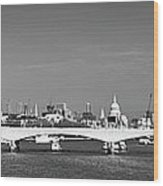 Thames Panorama Weather Front Clearing Bw Wood Print
