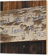 Thank You For Supporting Our Family Farm Wood Print