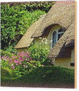 Thatched Cottage With Pink Flowers Wood Print