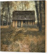 Thatched Roof Cottage In The Woods Wood Print