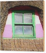 Thatched Roof Cottage Window Wood Print