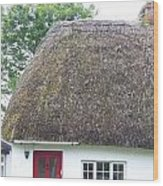 Thatched Roof Cottage With Red Door Wood Print