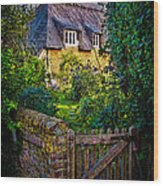 Thatched Roof Country Home Wood Print