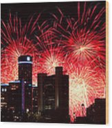 The 54th Annual Target Fireworks In Detroit Michigan - Version 2 Wood Print by Gordon Dean II