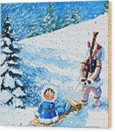 The Aerial Skier - 1 Wood Print