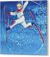 The Aerial Skier 16 Wood Print