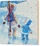 The Aerial Skier - 2 Wood Print