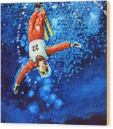 The Aerial Skier 20 Wood Print