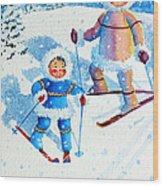 The Aerial Skier - 6 Wood Print by Hanne Lore Koehler