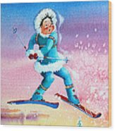 The Aerial Skier - 8 Wood Print