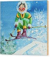 The Aerial Skier - 9 Wood Print