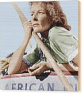 The African Queen, Katharine Hepburn Wood Print by Everett