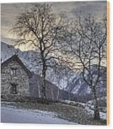 The Alps In Winter Wood Print